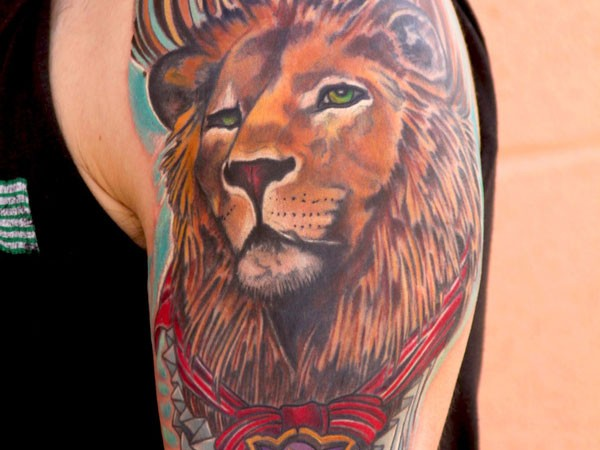 Coloured Lion Tattoo On Shoulder Tattooimages Biz