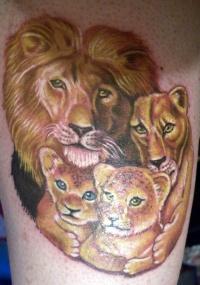 Beautiful lion family tattoo