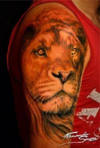Beautiful lion head tattoo by Fernando Souza