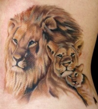 Great realistic lion family tattoo on ribs