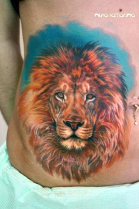 Colourful lion tattoo by nikasamarina