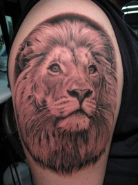 Detailed lion tattoo on arm