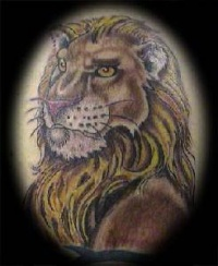 Humanized lion tattoo in colour